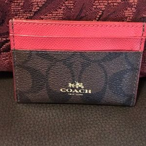 Authentic Coach Pink and Brown Card Holder